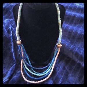 Vintage Boho Multi-Strand Blue Long  Necklace